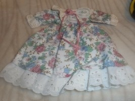 FLOWERED W LACE TRIM DOLL DRESS WITH PINK ROSE AT NECKLINE SMALL DOLL SIZE - $4.99