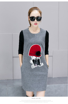 Woolen Knitting Sleeve Splicing Dress - Grey - €28,23 EUR