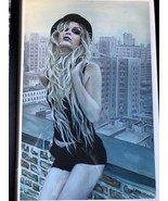 Lillith Painting by Cate Rangel Blonde Gir On Rooftop NY Signed #6 of 5... - $217.80