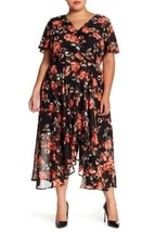 Women Sharagano Floral Mock Wrap Dress Plus Size 14W MSRP $138 Black On ... - $49.49