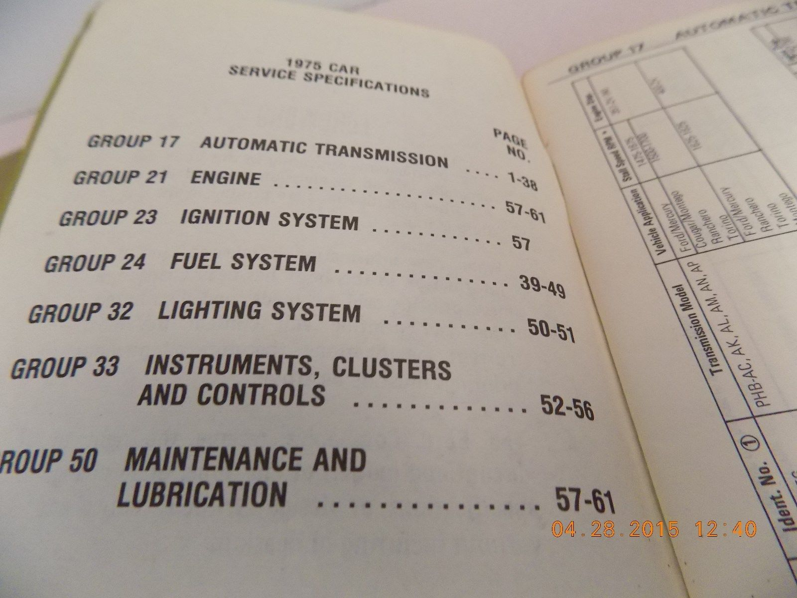 1975 FORD LINCOLN MERCURY CAR SERVICE SPECIFICATION BOOK MUSTANG TORINO ORIG