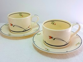 Gorham Ariana Tea Coffee Cups and Saucers Set of 2 Ivory Blue Floral Fine China - $14.85
