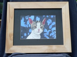 Mixed Media Cat Drawing Framed Kitten Gray White Pink Ears Feline Friend - $17.00