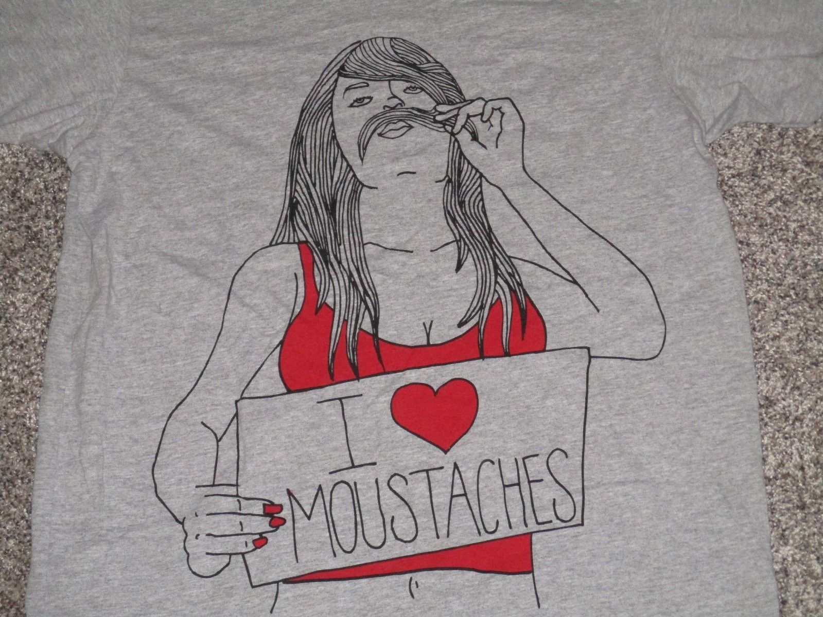I Love Moustaches Short Sleeve T-Shirt, Men's Large, Gray, NWT