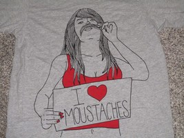 I Love Moustaches Short Sleeve T-Shirt, Men's Large, Gray, NWT image 2