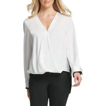 nwt DKNY Hi-Low V-Neck Blouse white/black L  - $30.00