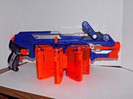 Nerf N-Strike Elite Gun Rifle C-044A with 8 Clips 42 Darts Bullets Used (F) - $74.24