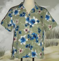 Caribb EAN Joe Hawaiian Shirt Olive Green Blue White Red Floral Size Medium Ln - $19.79