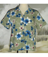 CARIBBEAN JOE Hawaiian Shirt Olive Green Blue White Red Floral Size Medi... - $19.79