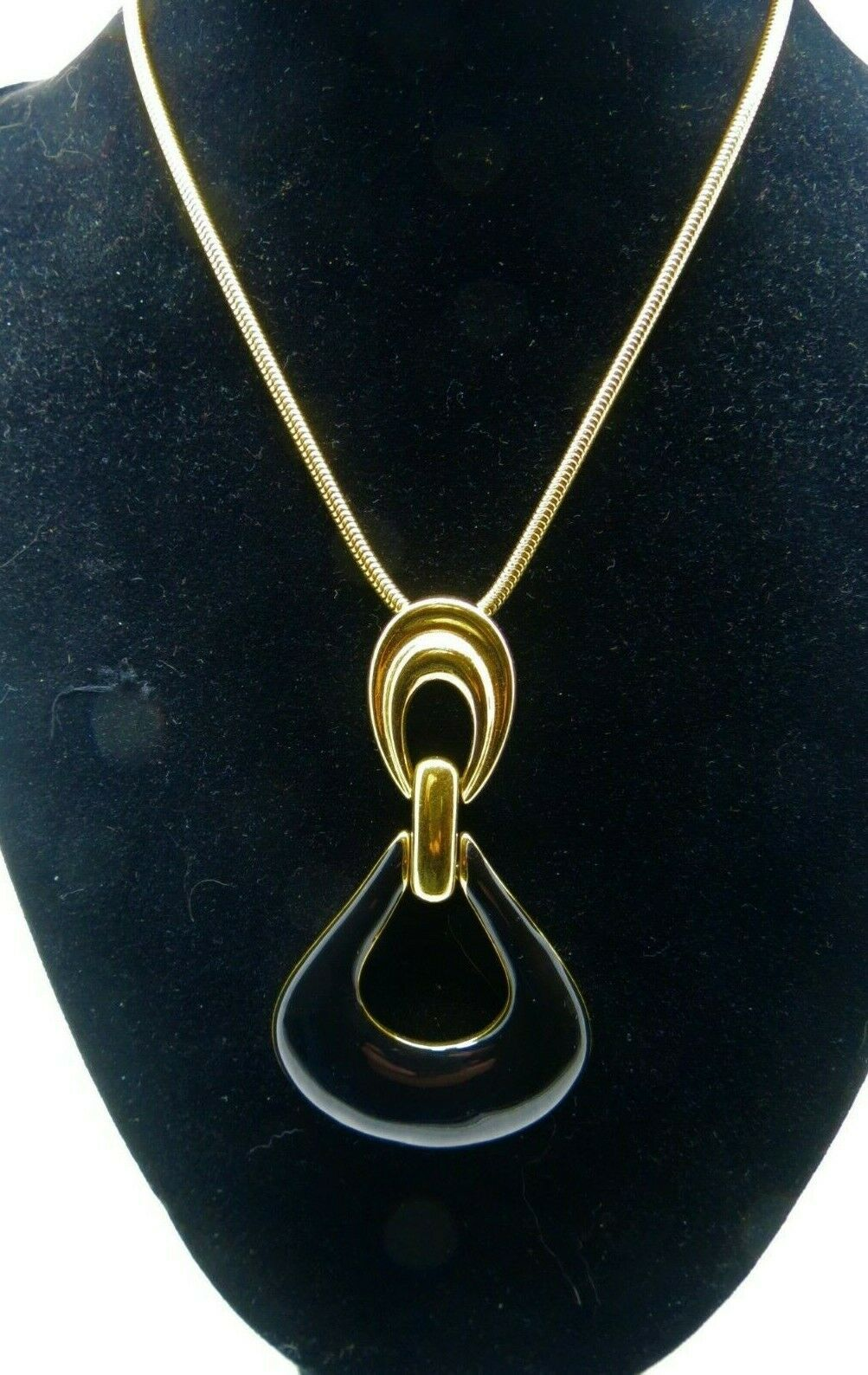"Monet Enamel Pendant Necklace Snake Chain Designer Gold Plated 36"" Long 70s NICE"