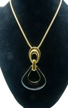 "Monet Enamel Pendant Necklace Snake Chain Designer Gold Plated 36"" Long 70s NICE image 1"