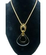 """Monet Enamel Pendant Necklace Snake Chain Designer Gold Plated 36"""" Long ... - $42.56"""