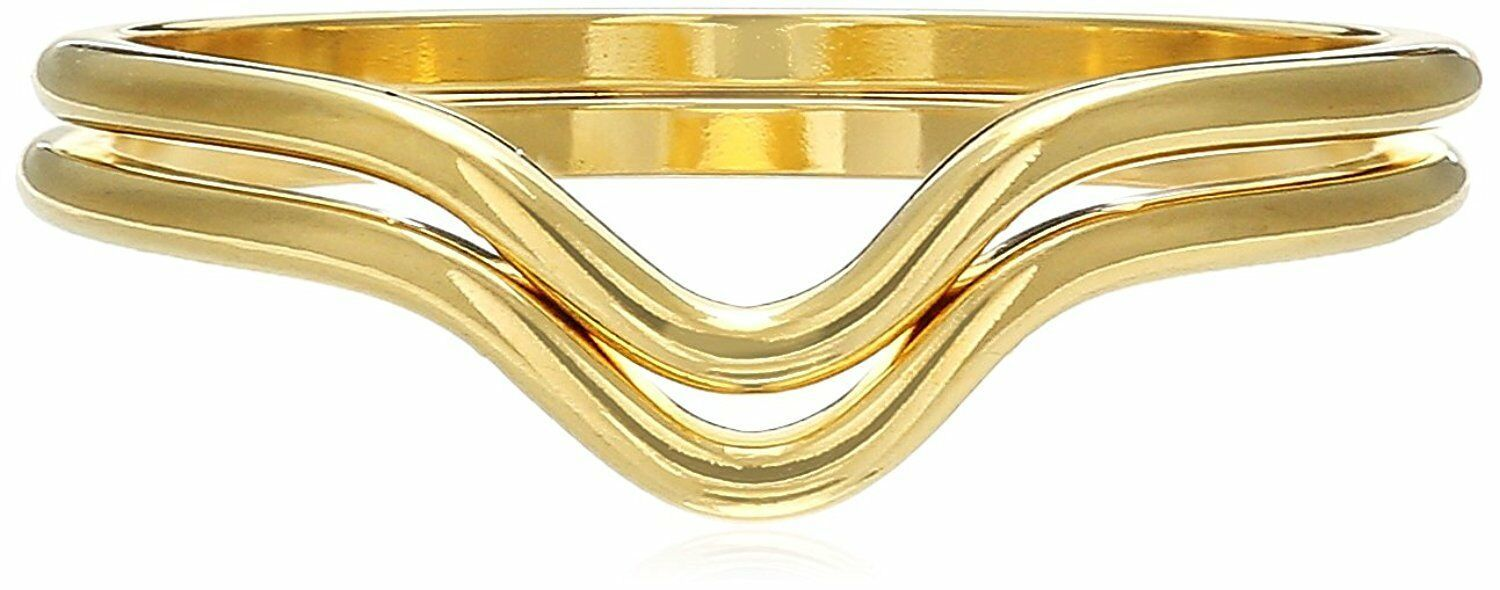 USA Made ECRU metal Gold Plated 2 Piece Chevron Stackable Ring Set Size 6 NWT