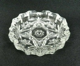 """Vintage Anchor Hocking Early American Prescut Ashtray 4"""" Clear Glass - $16.82"""