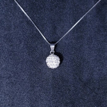 New 14k White Gold On 925 Sterling Silver Small CZ Disco Ball Pendant Fr... - $17.69