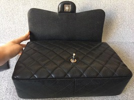 AUTHENTIC CHANEL BLACK CAVIAR QUILTED JUMBO SINGLE FLAP BAG SILVER HARDWARE image 6