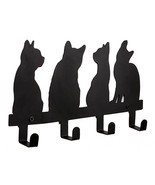 NEW Metal Cute Cats Wall Mounted Coat Rack 4 Hooks RACKS-BEST FOR YOU! S... - $30.99