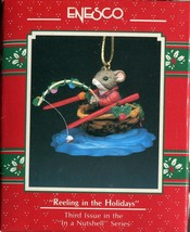 1988 New in Box Enesco Christmas Ornament - Reeling in the Holidays - Third  - $6.92