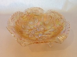 Carnival 3-Footed Glass Bowl Clear/Marigold/Orange Iridescent with Rose ... - $19.99