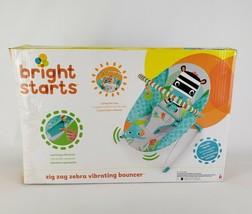 Bright Starts Zig Zag Zebra Vibrating Bouncer Kids Chair with Playtime T... - $33.91