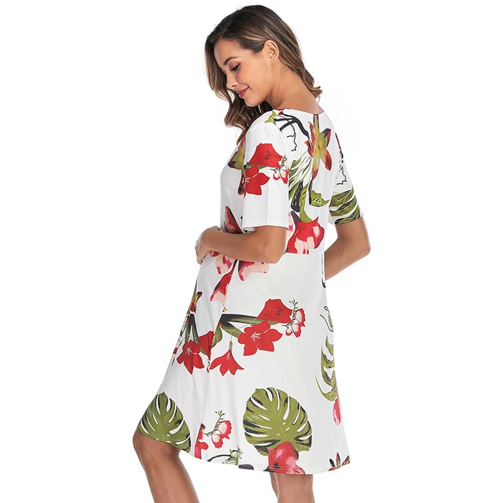 Maternity's Dress V Neck Short Sleeve Floral Print Dress image 5