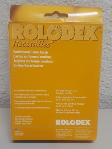 Rolodex Card File Open Business Card File 250-Cards 2-1/4in x 4in Box of 1
