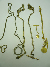 5 ANTIQUE VINTAGE POCKET WATCH CHAINS AND T BARS FOR RESTORATIONS JEWELRY - $459.57