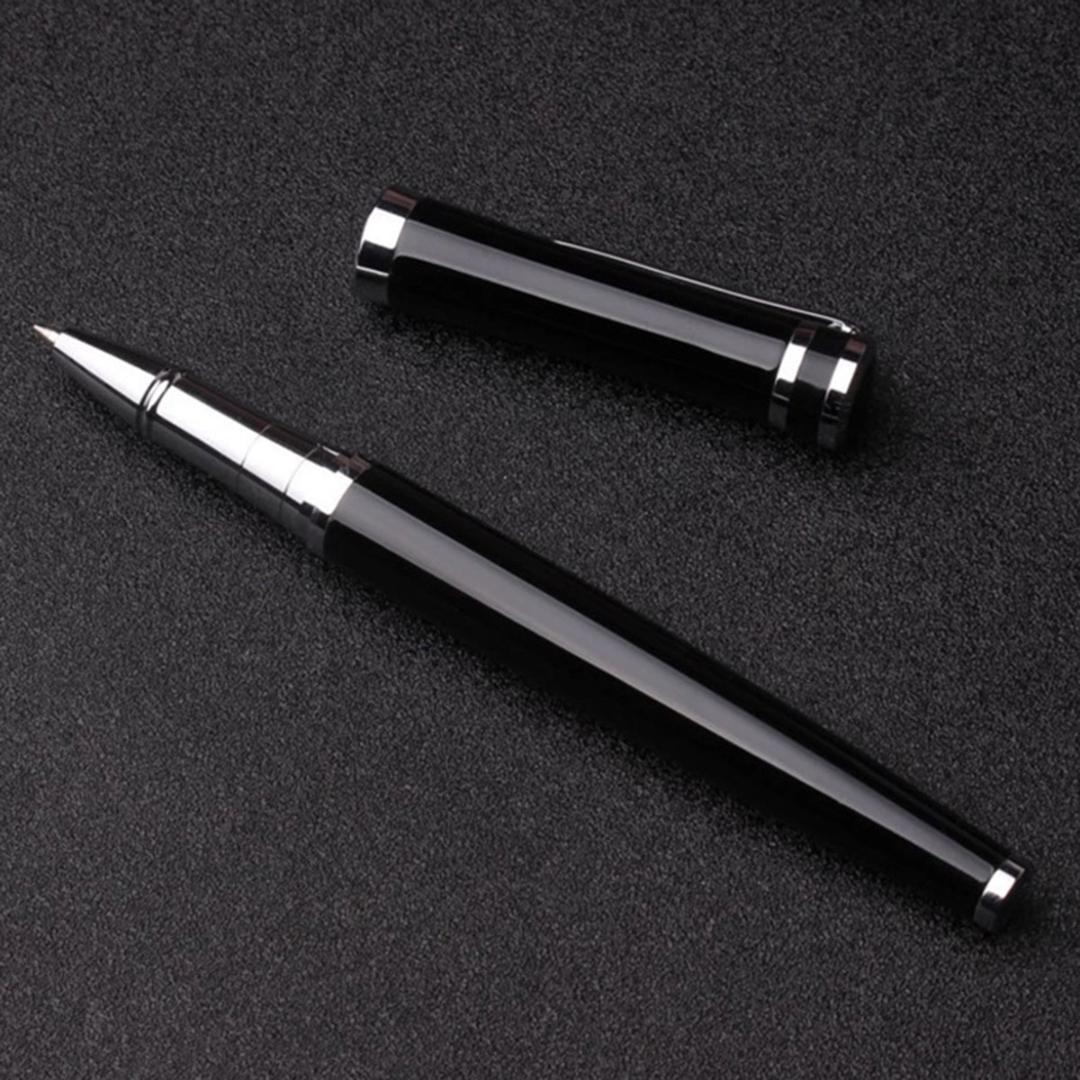 New Stainless Steel Ballpoint Metal Silvery Twist Ball Point Pen Black Ink Fashi