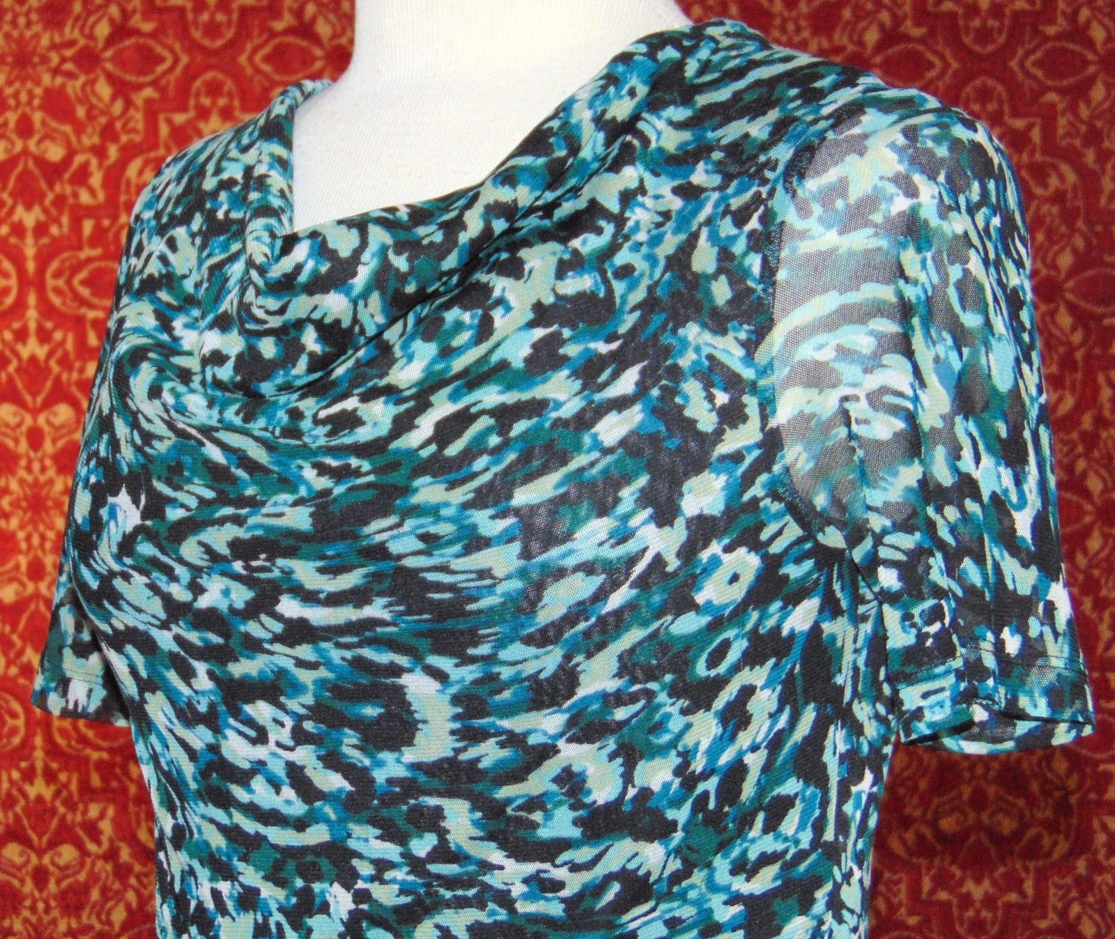 ELLEN TRACY STRETCH teal camouflage short sleeve mesh blouse S (T09-02G8G) image 2