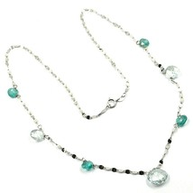 18K WHITE GOLD NECKLACE DROP FACETED GREEN & BLUE ALTERNATE AQUAMARINE, CHAIN image 2