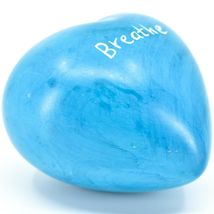 """Vaneal Group Hand Carved Soapstone 2-Sided """"Breathe"""" Sky Blue Heart Paperweight image 5"""