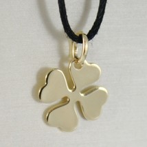 18K YELLOW GOLD PENDANT CHARM 18 MM, FLAT LUCKY FOUR LEAF CLOVER, MADE IN ITALY image 1