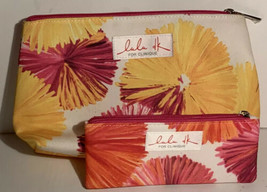 Lot of 2 LuLu DK for Clinique Cosmetic Multi Color Travel Bags Yellow Pink - $15.99