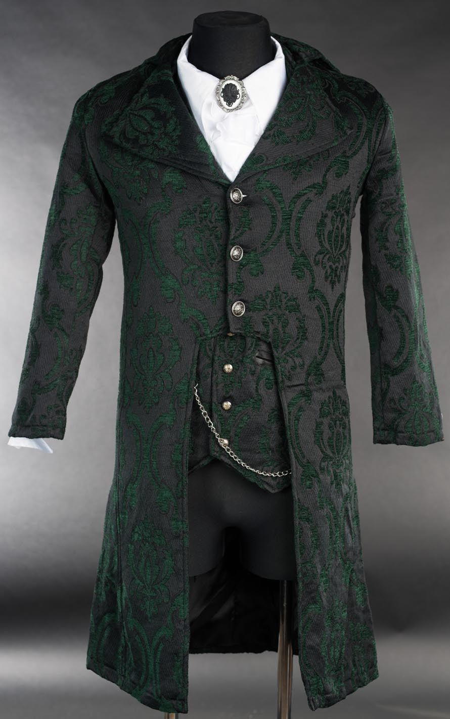 Primary image for NWT Men's Black Green Brocade Victorian Goth Vampire Tailcoat Jacket
