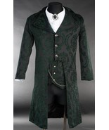 NWT Men's Black Green Brocade Victorian Goth Vampire Tailcoat Jacket - $149.99