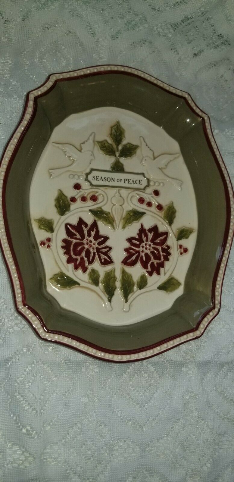 Primary image for Grasslands Road Christmas Seasons of Peace Serving Tray New