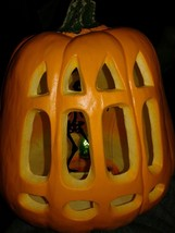 LIGHTED FOAM LATEX  Carved Lighted Pumpkin with Skeleton Scene - £22.54 GBP