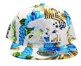 NEW UNISEX BASEBALL HAT CAP ADJUSTABLE SNAPBACK CALI BEAR WHITE FLORAL ONE SIZE