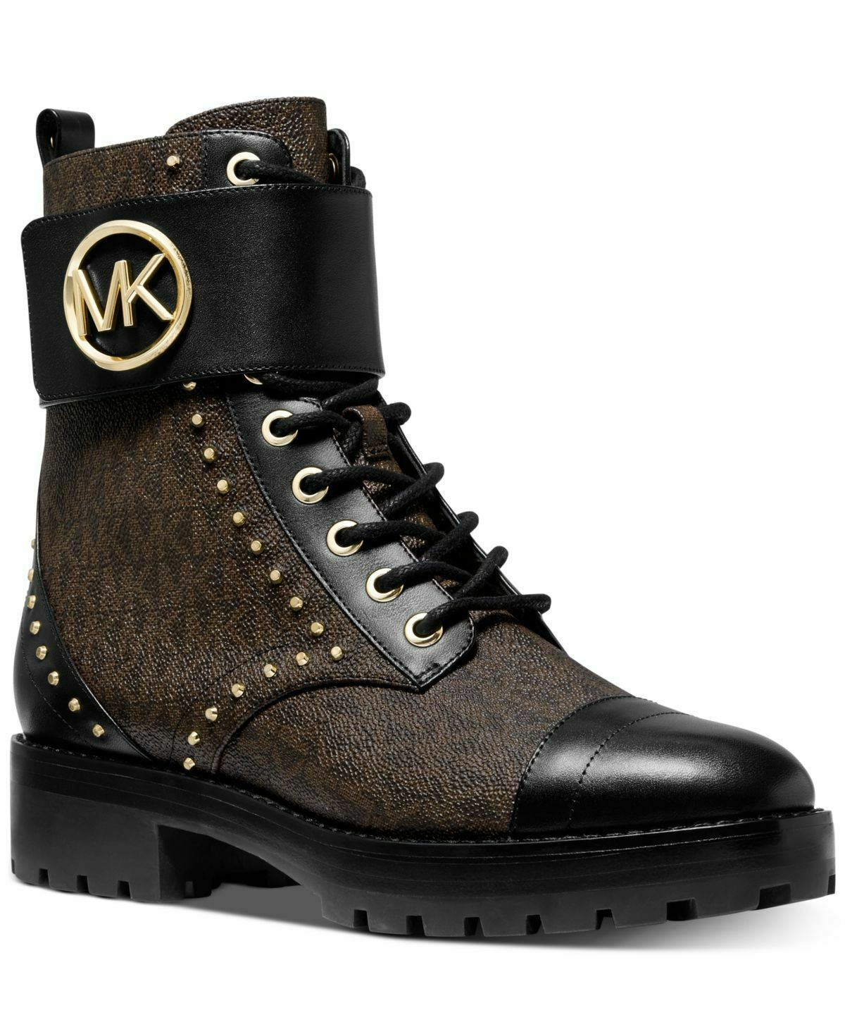Michael Kors Tatum Ankle Combat Biker Mini MK Logo Studded Boots Brown/Black