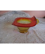 Vintage Kanawha Amberina Orange Amber Glass Hat Hobnail Pitcher - $84.15