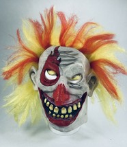 Terrifying Scary Monster Clown Orange Yellow Hair Teeth Halloween Mask C... - £30.05 GBP