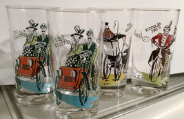 VINTAGE GAY NINETIES COLLECTION ANCHOR HOCKING GLASSES 1950''s and 1960's - $29.99