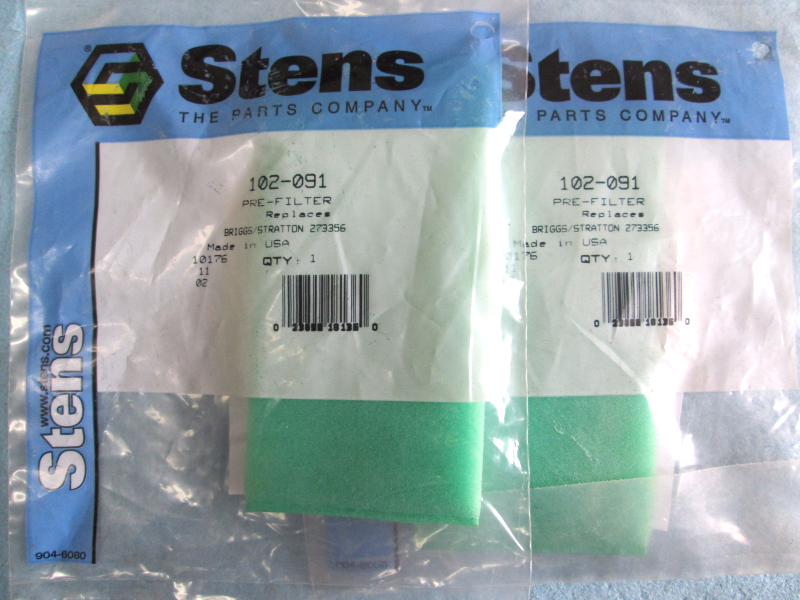 Primary image for 102-091 Stens, Pre-Filter, Replaces: Briggs & Stratton 273356, Quantity=2
