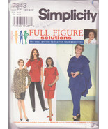 Simplicity Full Figure 7343, Size 18W-24W, Women's Tunic, Skirt Pants Wrap - $12.00