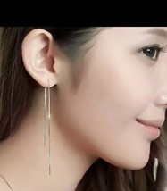 Simple Trendy 925 Silver Long Chain Earrings Threader 18cm Earrings [EAR-335] - $9.49