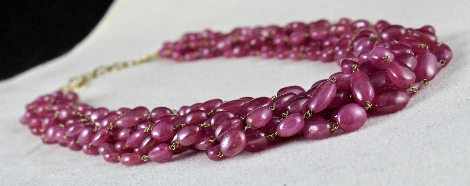 PINK RUBY BEADS CABOCHON 9 LINE 780 CARATS GEMSTONE 18K GOLD LADIES NECKLACE image 8
