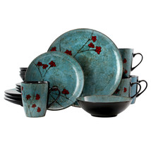 Elama Floral Accents 16 Piece Dinnerware Set in Blue - $90.29