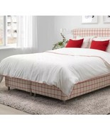 Ikea Kungsblomma King Duvet Cover 2 Pillowcases Bed Set White Red Trim NEW - $58.21