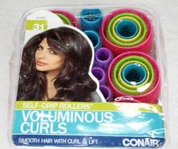 Conair Voluminous Curls Self Grip Rollers 31 Pc Smooth Hair w/ Curl & Li... - $9.99