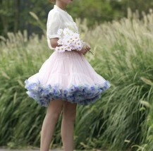 Women Blush Pink Mini Layered Tulle Skirt Outfit Plus Size Tulle Holiday Skirt image 1